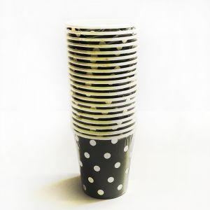 Black Polka Dot Paper Cups - Set of 20