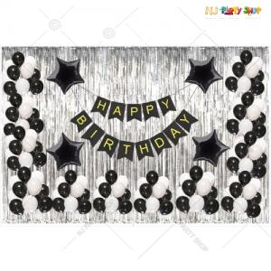 09M - Black & Silver Birthday Decoration Combo Kit - Set of 49
