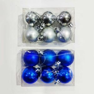 Blue Balls Christmas Tree Decoration Ornaments - Model 1005XY - Set of 6