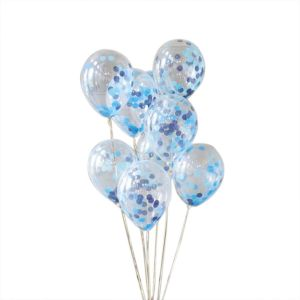 Blue Confetti Balloons - Set of 5