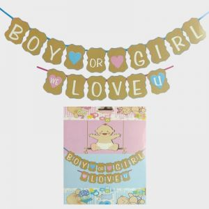 Baby Shower - Boy or Girl - We Love You Banner