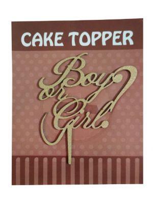 Boy or Girl Cake Topper - Golden