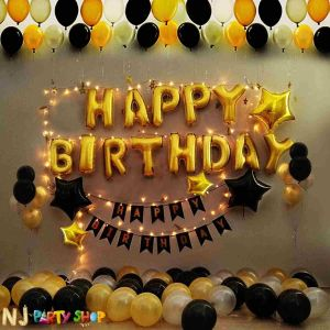 01F - Black & Golden Birthday Decoration Combo - Set of 70 Pcs