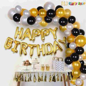 02E - Black & Golden Birthday Decoration Combo - Set of 51 Pcs