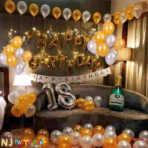 02H - White & Golden Birthday Decoration Combo - Set of 70 Pcs