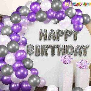 01H - Silver & Purple Birthday Decoration Combo - Set of 61 Pcs