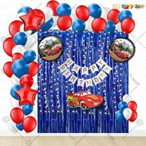 Car Theme Birthday Decoration Combo - Blue & Red - Set Of 51