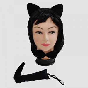 Catwoman Set of 3 -  Hairband, Bow & Tail
