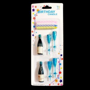 Champagne Shape With Glass Birthday Cake Candles