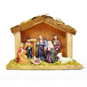 Christmas Crib Set With Statues - Small