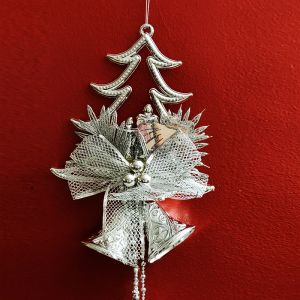 Christmas Tree with Angel/Bell Hanging - Silver