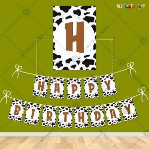 Cow Animal Theme Happy Birthday Banner