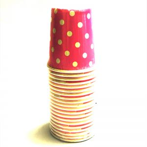 Dark Pink Polka Dot Paper Cups - Set of 20