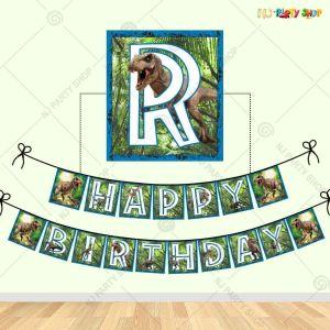 Dinosaur Theme Happy Birthday Banner