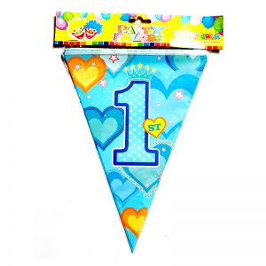 1st Birthday Boy Flag Banner Decoration