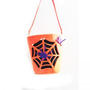 Foam Pumpkin with Purple Spider Bucket for Halloween