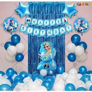 Frozen Theme Birthday Decoration Combo - Blue & White - Set Of 49