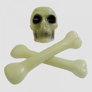 Glow In The Dark Skull Head & Bone - Halloween Decoration