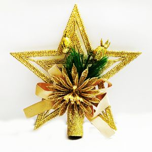 Gold Tree Top Star with Flower