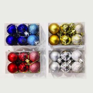 Golden Balls Christmas Tree Decoration Ornaments - Model 1003XY - Set of 12