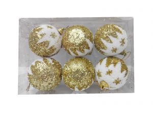 Golden Snow Design Balls Christmas Tree Decoration Ornaments