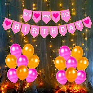 Half Birthday Decoration Combo - Pink & Golden - Set Of 42