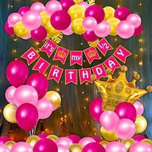 Half Birthday Decoration Combo - Pink & Red - Set Of 58