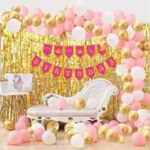Half Birthday Decoration Combo - White & Golden -Set Of 73