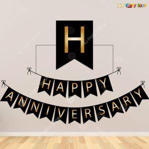 Happy Anniversary Banner - Black & Golden