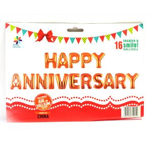 Happy Anniversary Foil Balloon Letters - Rose Gold