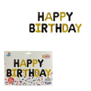 Happy Birthday Alphabet Foil Banner - Black & Golden