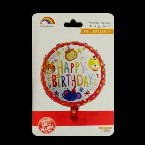 Happy Birthday Animal Round Foil Balloon