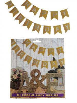 Happy Birthday Banner - Golden & Silver - Model 100X