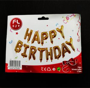 Happy Birthday Banner Golden Foil Alphabets Balloon