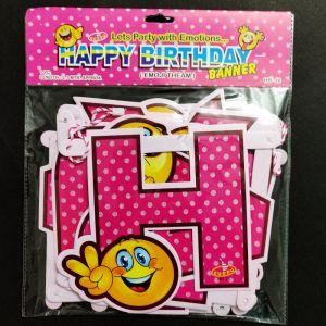 Happy Birthday Banner - Smiley Pink