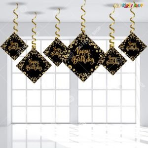 Happy Birthday Black & Golden Swirls Hanging - Set of 6