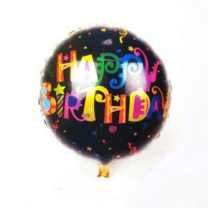 Happy Birthday Black Round Shape Foil Balloon
