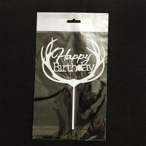 Happy Birthday Cake Topper Silver Glitter