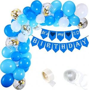 Half Birthday Decoration Combo - Blue & White - Set Of 53