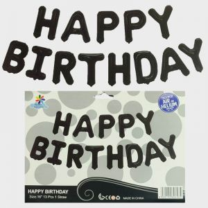 Happy Birthday Foil Balloon - Black