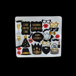 Happy Birthday Photo Booth Props - Black & Golden