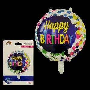 Happy Birthday Round Foil Balloon - Multi Colour