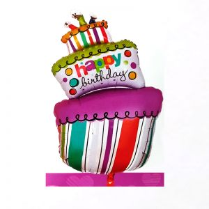 Happy Birthday Tilted Cake Shape Foil Balloon