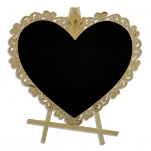 Wooden Slate With Stand - Heart Shape