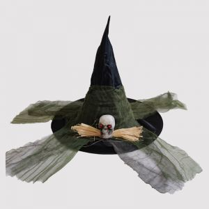 Halloween Black Witch Hat with Skeleton