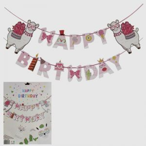 Happy Birthday Banner - Llama Theme