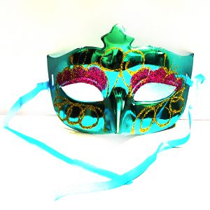 Masquerade Glitter Eye Mask - Metallic Blue