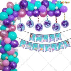 016Q - Mermaid Theme Birthday Party Decoration Combo - Set of 68
