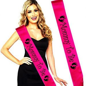 Baby Shower - Mommy to be Sash - Dark Pink & Black
