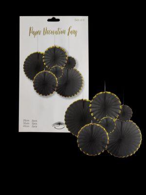 Paper Decoration Fans - Black - Set of 6 ( Model 200X)